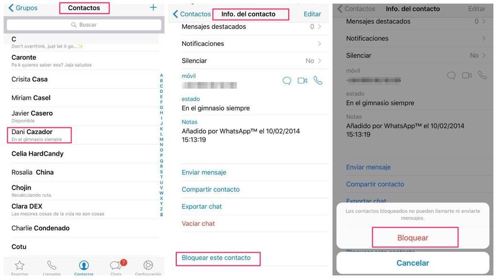 Como bloquear contactos o grupos en Whatsapp?