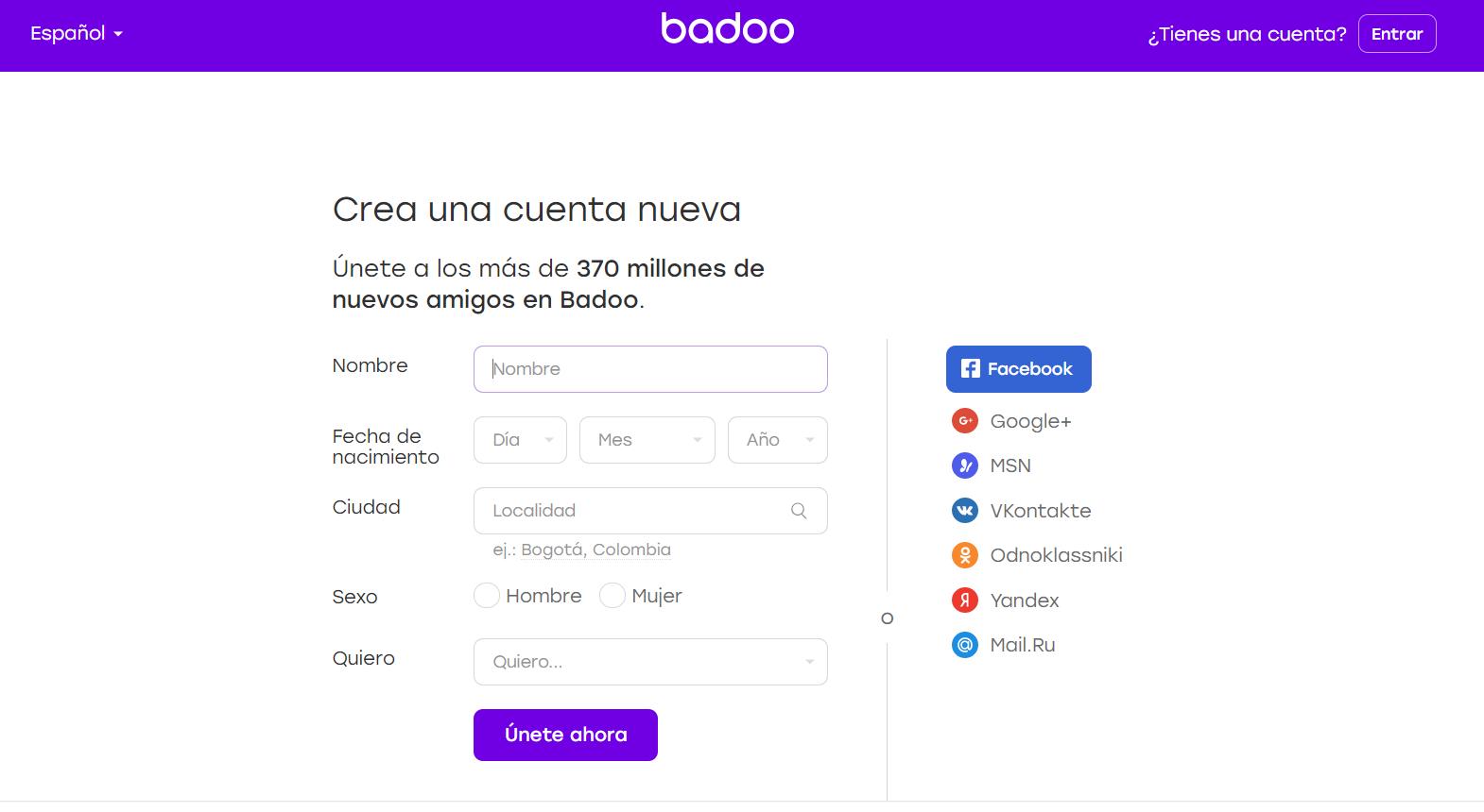 Cómo ingresar en Badoo