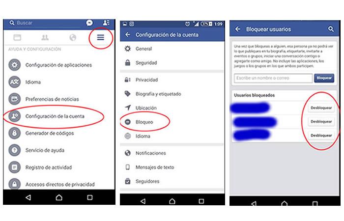 Desbloquear en Facebook