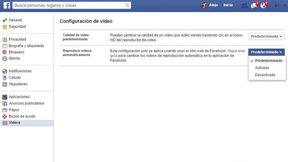 Reproduccion automatica videos Facebook