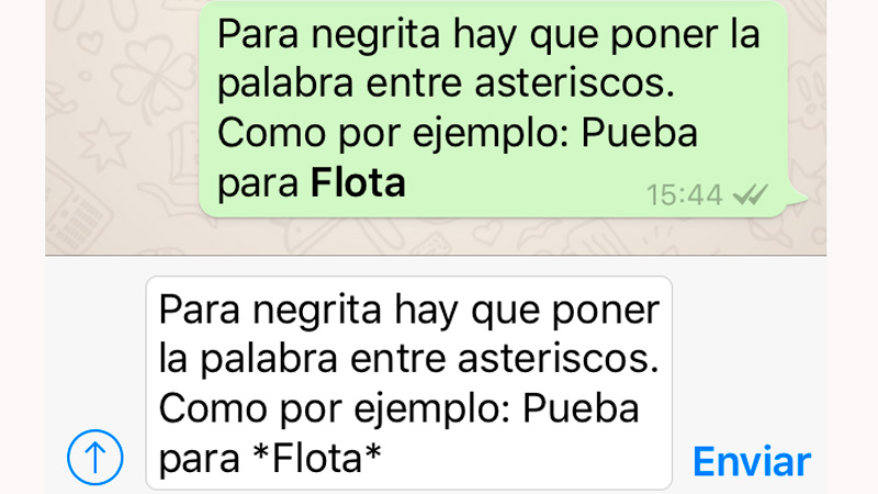 Negritas WhatsApp