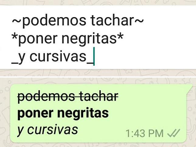 Negritas cursivas tachado en WhatsApp