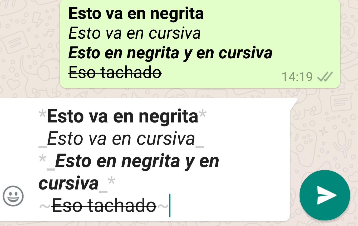 Negritas, cursiva, tachado, subrayado y más en Whatsapp