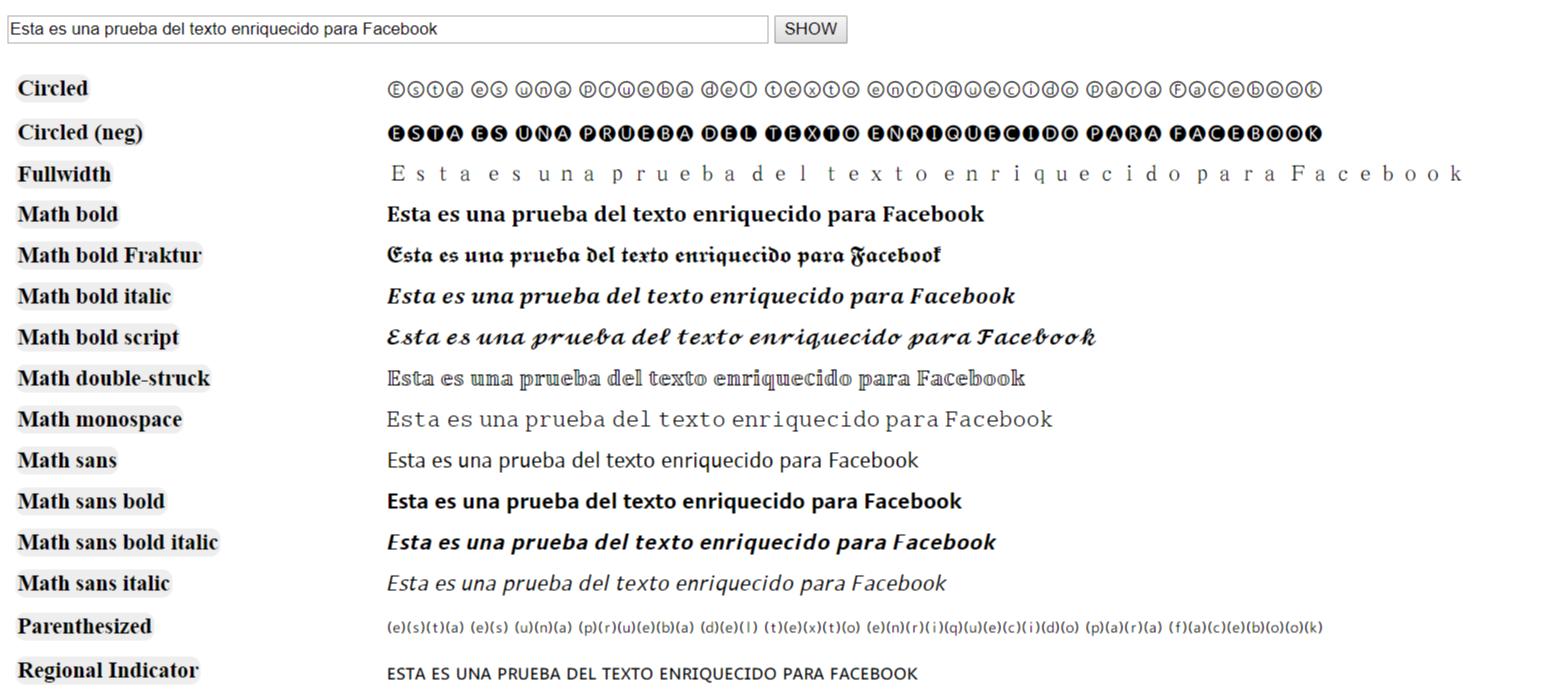 UNICODE Texto enriquecido para Facebook